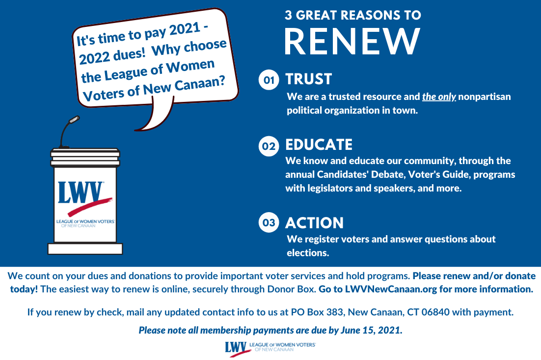 Blue and white graphic with League of Women Voters Podium. Text reads,
